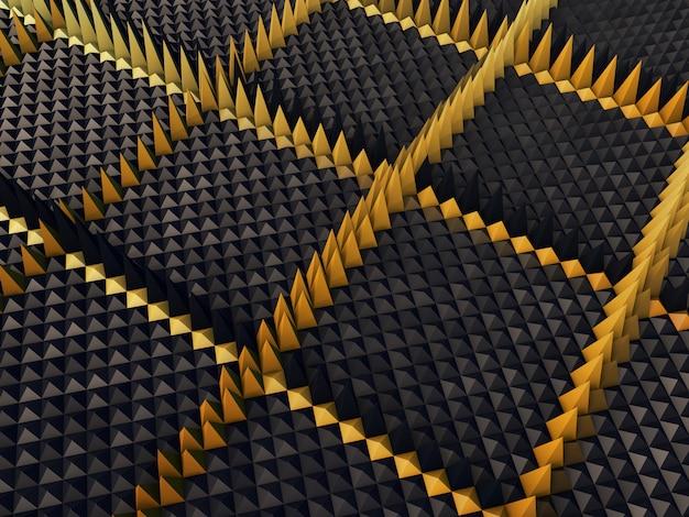 3d abstrato com pirâmides de extrusão