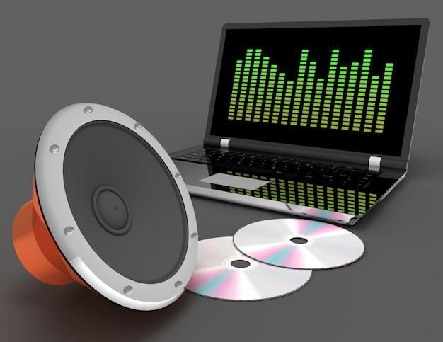 3d abstrato de alto-falante de áudio e disco cd. ilustração renderizada 3d