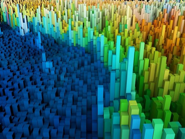 3d abstrato de cubos coloridos
