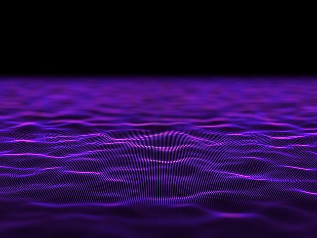 3d abstrato digital com pontos cibernéticos fluindo