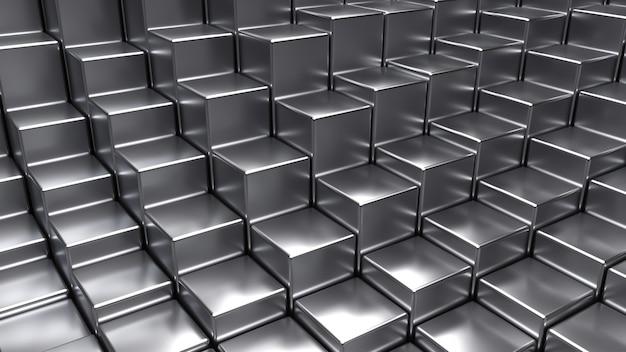 3d abstrato, fundo de cubos de cromo. renderização em 3d
