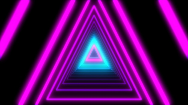 3d abstrato ilumina triângulos de néon. animação de loop.