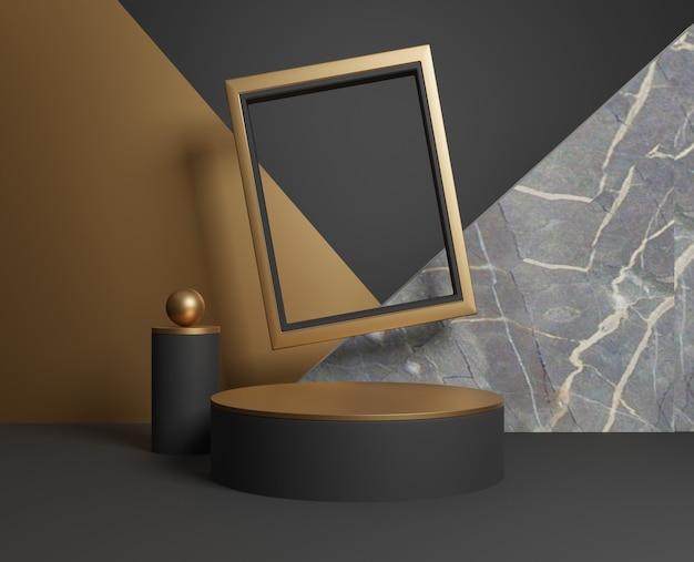3d abstrato ouro e formas geométricas pretas