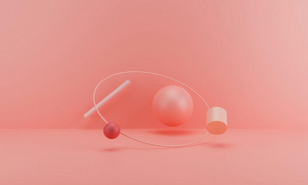 3d abstrato render, rosa fundo minimalista