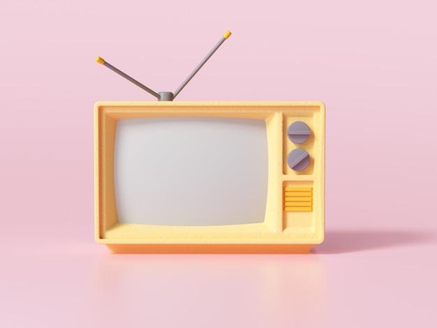 3d amarelo retro velho televisor em fundo rosa, tv analógica vintage com espaço de cópia. ilustração 3d render.