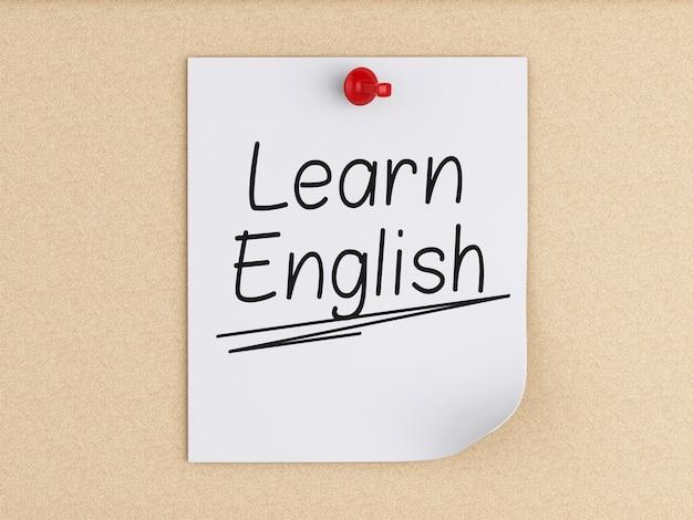3d aprende o inglês, palavra no post-it sobre a cortiça.