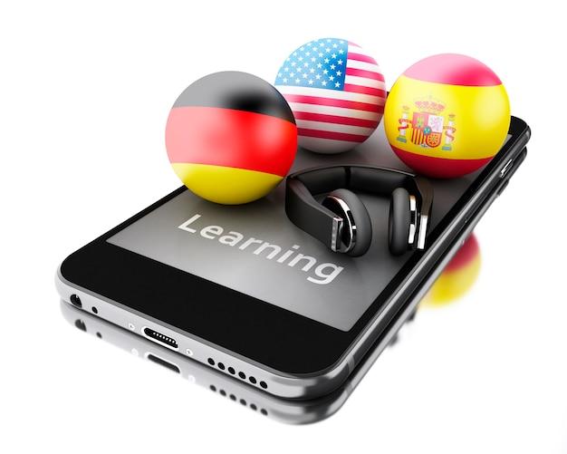 3d aprendendo línguas estrangeiras no smartphone.