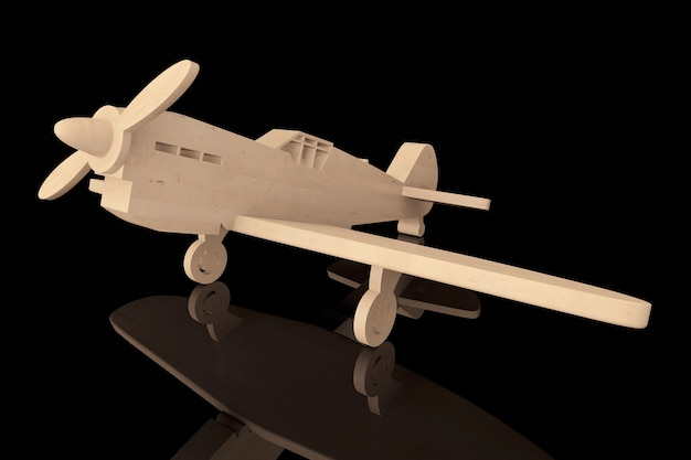 3d avião de brinquedo de madeira em um fundo preto