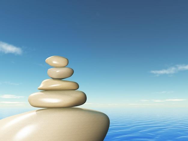 3d balanceamento de pedras contra uma paisagem do oceano