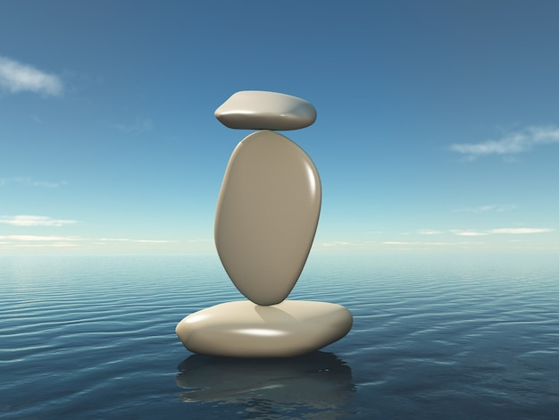 3d balanceamento de zen seixos