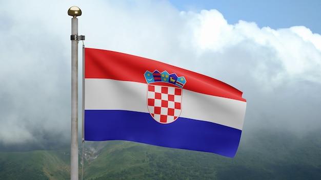 3d, bandeira croata balançando com o vento na montanha. perto da bandeira da croácia soprando, seda macia e suave. fundo de estandarte de textura de tecido de pano. Foto Premium