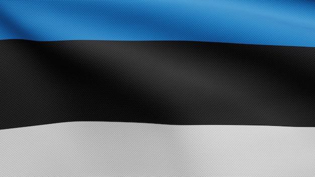 3d, bandeira da estônia balançando com o vento. perto da bandeira da estônia soprando, seda macia e suave. fundo de estandarte de textura de tecido de pano.