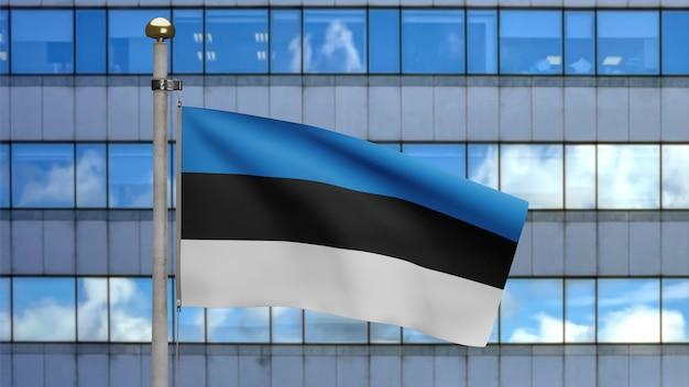 3d, bandeira da estônia balançando no vento com a cidade de arranha-céus modernos. perto da bandeira da estônia soprando, seda macia e suave. fundo de estandarte de textura de tecido de pano.