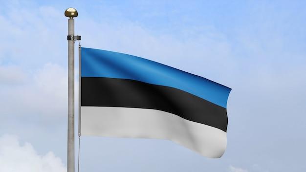 3d, bandeira da estônia balançando no vento, com céu azul e nuvens. bandeira da estônia soprando seda lisa. fundo de estandarte de textura de tecido de pano. use-o para o dia nacional e o conceito de ocasiões do país.
