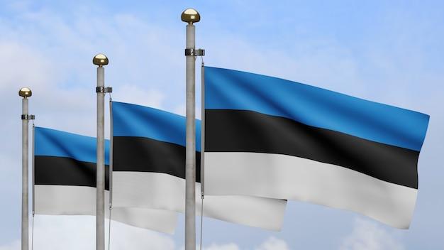 3d, bandeira da estônia balançando no vento, com céu azul e nuvens. perto da bandeira da estônia soprando, seda macia e suave. fundo de estandarte de textura de tecido de pano.