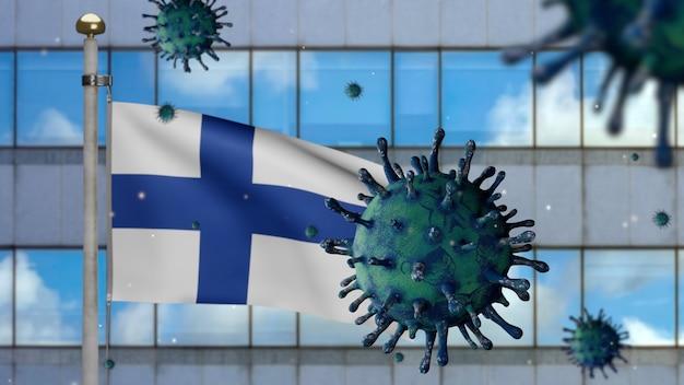 3d, bandeira da finlândia acenando com a cidade de arranha-céus modernos e o conceito de coronavirus 2019 ncov. surto asiático na finlândia, o coronavírus da gripe é um caso de cepa de gripe perigoso como uma pandemia.