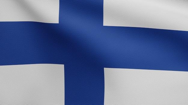 3d, bandeira da finlândia balançando com o vento. perto da bandeira da finlândia soprando, seda macia e suave. fundo de estandarte de textura de tecido de pano