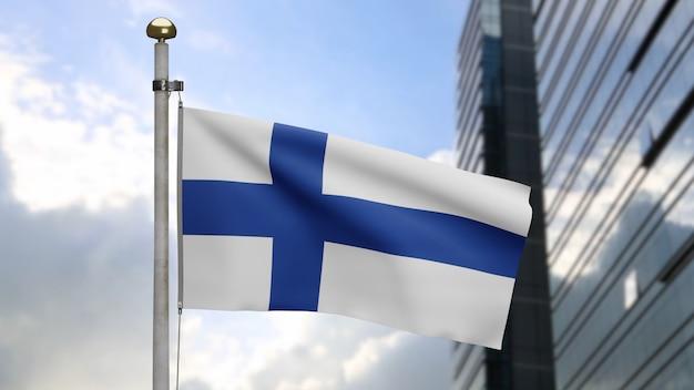 3d, bandeira da finlândia balançando no vento com a cidade de arranha-céus modernos. bandeira da finlândia soprando seda lisa. fundo de estandarte de textura de tecido de pano. use-o para o dia nacional e o conceito de ocasiões do país.