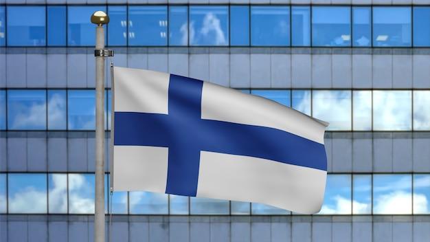 3d, bandeira da finlândia balançando no vento com a cidade de arranha-céus modernos. perto da bandeira da finlândia soprando, seda macia e suave. fundo de estandarte de textura de tecido de pano