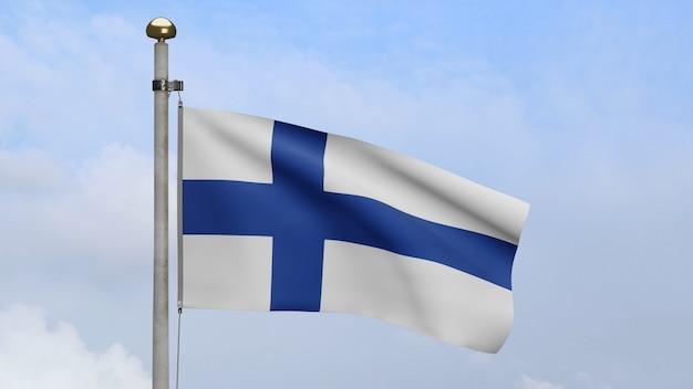 3d, bandeira da finlândia balançando no vento, com céu azul e nuvens. bandeira da finlândia soprando seda macia. fundo de estandarte de textura de tecido de pano. use-o para o dia nacional e o conceito de ocasiões do país.