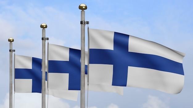 3d, bandeira da finlândia balançando no vento, com céu azul e nuvens. perto da bandeira da finlândia soprando, seda macia e suave. fundo de estandarte de textura de tecido de pano
