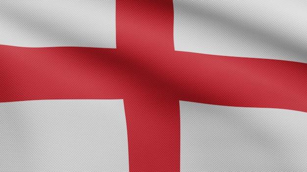 3d, bandeira da inglaterra balançando com o vento. perto da bandeira inglesa soprando, seda macia e suave. fundo de estandarte de textura de tecido de pano.
