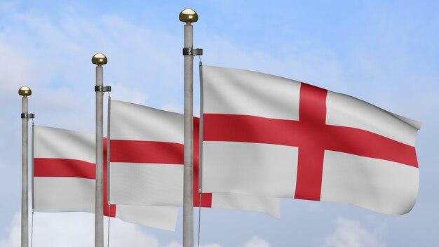 3d, bandeira da inglaterra balançando no vento com céu azul e nuvens. perto da bandeira inglesa soprando, seda macia e suave. fundo de estandarte de textura de tecido de pano.