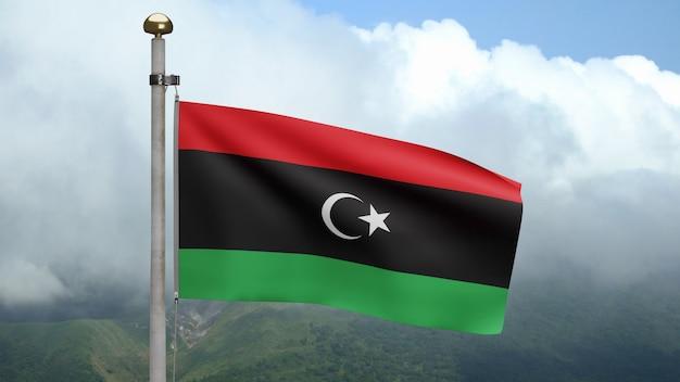 3d, bandeira da líbia balançando com o vento na montanha. bandeira da líbia soprando seda lisa. fundo de estandarte de textura de tecido de pano. use-o para o dia nacional e o conceito de ocasiões do país.