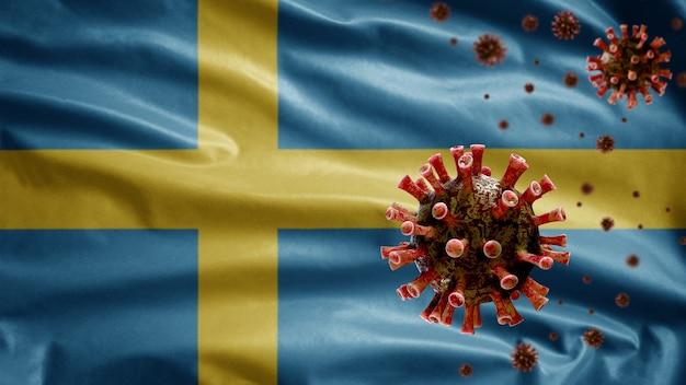 3d, bandeira da suécia acenando com surto de coronavírus infectando o sistema respiratório como uma gripe perigosa. vírus da gripe covid 19 do tipo com modelo nacional sueco soprando em segundo plano
