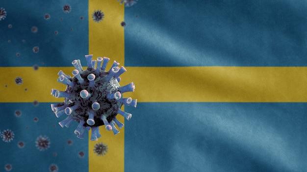 3d, bandeira da suécia acenando e conceito de coronavirus 2019 ncov. surto asiático na suécia, o coronavírus da gripe é tão perigoso quanto uma pandemia. vírus do microscópio covid19