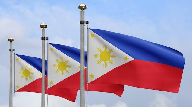 3d, bandeira das filipinas balançando no vento com céu azul e nuvens. perto da bandeira das filipinas soprando, seda macia e suave. fundo de estandarte de textura de tecido de pano