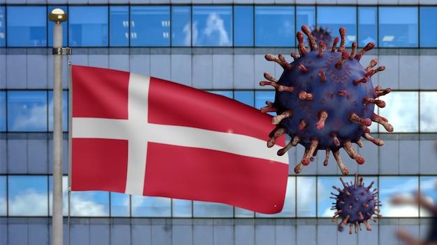 3d, bandeira dinamarquesa acenando com a cidade de arranha-céus moderna e surto de coronavírus como uma gripe perigosa. vírus covid 19 do tipo influenza com a bandeira nacional da dinamarca soprando no fundo. conceito de risco de pandemia