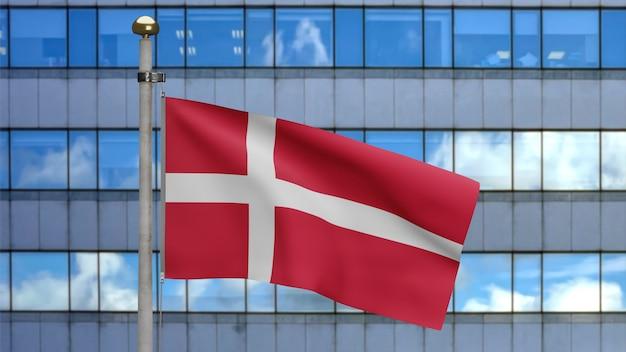 3d, bandeira dinamarquesa balançando no vento com a cidade de arranha-céus modernos. bandeira da dinamarca soprando seda lisa. fundo de estandarte de textura de tecido de pano. use-o para o dia nacional e o conceito de ocasiões do país.
