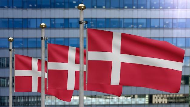 3d, bandeira dinamarquesa balançando no vento com a cidade de arranha-céus modernos. bandeira da dinamarca soprando, seda macia e suave. fundo de estandarte de textura de tecido de pano. use-o para o dia nacional e o conceito de ocasiões do país.