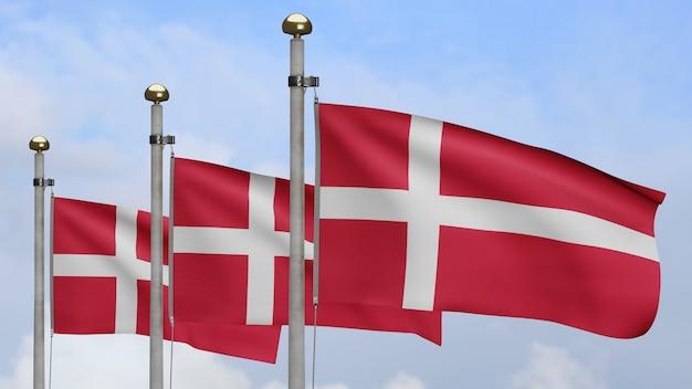 3d, bandeira dinamarquesa balançando no vento com céu azul e nuvens. bandeira da dinamarca soprando, seda macia e suave. fundo de estandarte de textura de tecido de pano. use-o para o dia nacional e o conceito de ocasiões do país.