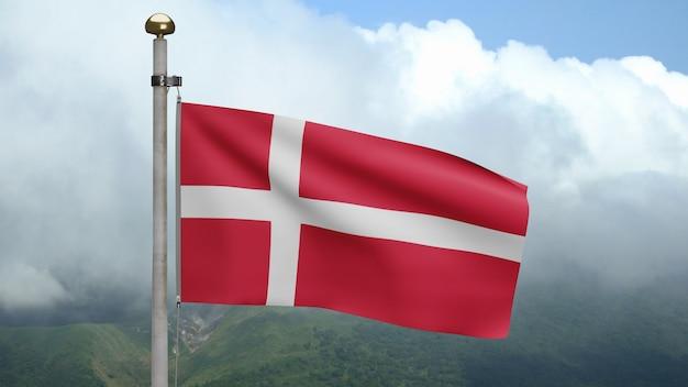 3d, bandeira dinamarquesa balançando no vento na montanha com nuvens. bandeira da dinamarca soprando seda lisa. fundo de estandarte de textura de tecido de pano. use-o para o dia nacional e o conceito de ocasiões do país. Foto Premium