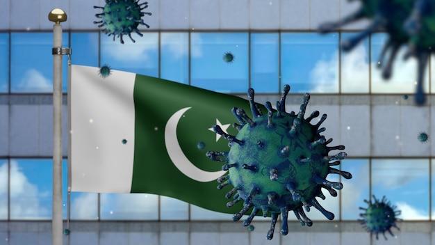 3d, bandeira do paquistão acenando com a cidade moderna de arranha-céus e o conceito de coronavirus 2019 ncov. surto asiático no paquistão, influenza coronavírus. vírus do microscópio covid19 close-up.