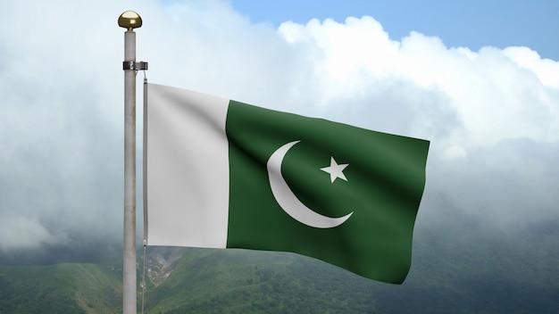 3d, bandeira do paquistão balançando com o vento na montanha. bandeira do paquistão soprando seda macia. fundo de estandarte de textura de tecido de pano. dia nacional e conceito de ocasiões do país.
