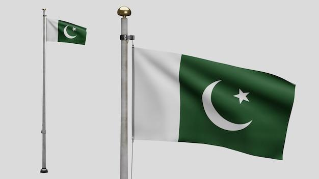 3d, bandeira do paquistão balançando com o vento. perto da bandeira do paquistão soprando, seda macia e suave. fundo de estandarte de textura de tecido de pano. use-o para o dia nacional e o conceito de ocasiões do país.