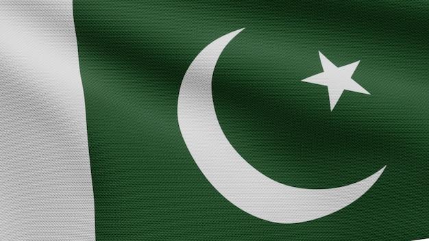 3d, bandeira do paquistão balançando com o vento. perto da bandeira do paquistão soprando, seda macia e suave. fundo de estandarte de textura de tecido de pano.