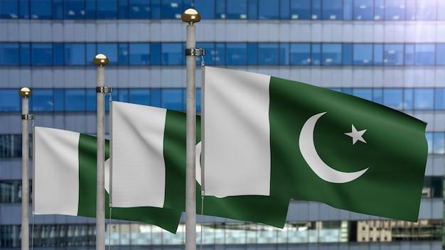 3d, bandeira do paquistão balançando no vento com a cidade de arranha-céus modernos. bandeira do paquistão soprando seda macia. fundo de estandarte de textura de tecido de pano. dia nacional e conceito de ocasiões do país.