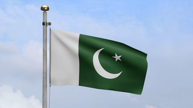 3d, bandeira do paquistão balançando no vento com céu azul e nuvens. bandeira do paquistão soprando seda macia. fundo de estandarte de textura de tecido de pano. dia nacional e conceito de ocasiões do país.