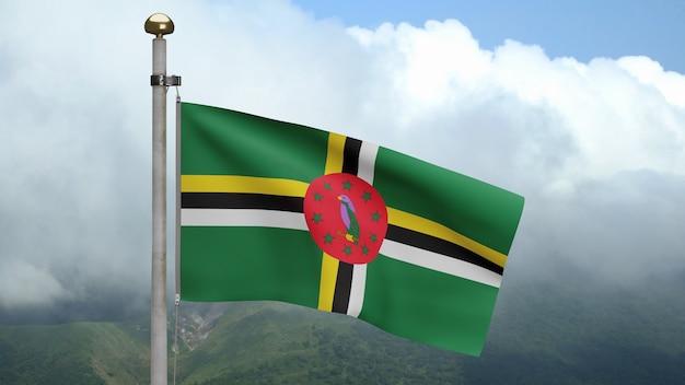 3d, bandeira dominicana balançando no vento com céu azul e nuvens. bandeira da dominica soprada, seda macia e lisa. fundo de estandarte de textura de tecido de pano. use-o para o dia nacional e o conceito de ocasiões do país
