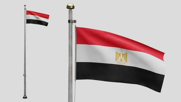 3d, bandeira egípcia balançando com o vento. perto da bandeira do egito soprando, seda macia e suave. fundo de estandarte de textura de tecido de pano. use-o para o dia nacional e o conceito de ocasiões do país.