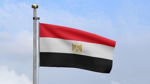 3d, bandeira egípcia balançando no vento com céu azul e nuvens. bandeira do egito soprando seda lisa. fundo de estandarte de textura de tecido de pano. use-o para o dia nacional e o conceito de ocasiões do país.