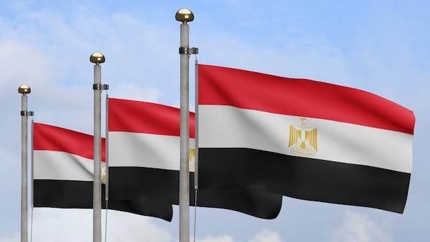 3d, bandeira egípcia balançando no vento com céu azul e nuvens. perto da bandeira do egito soprando, seda macia e suave. fundo de estandarte de textura de tecido de pano.