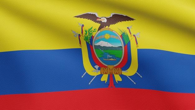 3d, bandeira equatoriana balançando com o vento. perto da bandeira do equador soprando, seda macia e suave. fundo de estandarte de textura de tecido de pano. use-o para o dia nacional e o conceito de ocasiões do país.