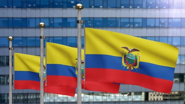 3d, bandeira equatoriana balançando no vento com a cidade de arranha-céus modernos. perto da bandeira do equador soprando, seda macia e suave. fundo de estandarte de textura de tecido de pano.