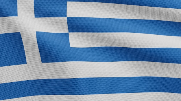 3d, bandeira grega balançando no vento. perto da bandeira da grécia soprando, seda macia e suave. fundo de estandarte de textura de tecido de pano.