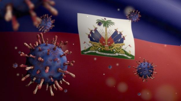 3d, bandeira haitiana acenando com surto de coronavírus infectando o sistema respiratório como uma gripe perigosa. vírus covid 19 do tipo influenza com a bandeira nacional do haiti soprando ao fundo. conceito de risco de pandemia